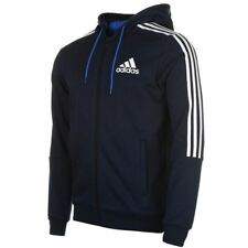 adidas 3 Stripe Full Zip Hoody Mens Navy/White Hoodie Jacket Top Sportswear