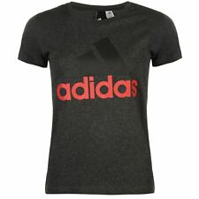 adidas Linear QT T-Shirt Womens Running Fitness Gymwear Grey/Pink Top Tee TShirt