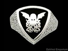 H.P. Lovecraft Cthulhu Crest Signet Ring Sterling Silver