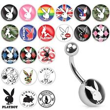 Playboy Bunny Print Inlay 316L Surgical Steel Belly Bar / Navel Ring