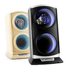 2 WATCHES WATCH WINDER BOX CASE DISPLAY BOX 2 COLOURS BLACK CREAM AUTOMATIC NEW