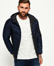 Superdry Mens Micro Quilt Down Hooded Jacket in Navy Blue
