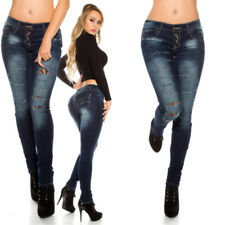 Blue Jeans Skinny  Donna Strappato Street Style Con Ricami Floreale In Pizzo