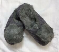 Ruby & Ed Grey Cable Knit & Pom Pom Mule Slippers Size UK  S - L (re-1h)