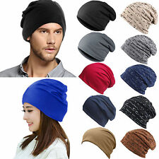 UNISEX UOMO DONNA BEANIE COTONE Slouchy LARGO CAPPELLO CASUAL sci hip hop