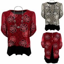 Womens Semi Sheer Overlay 3/4 Sleeve High Low Lined Floral Top & Necklace