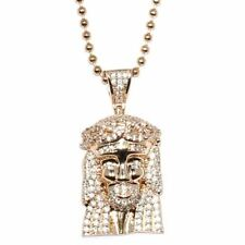 Rose Gold Plated CZ Micro Jesus Piece With 30 Inch Ball Chain