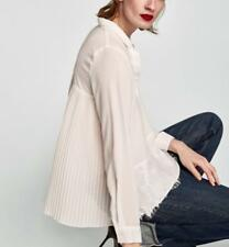 ZARA ECRU PLEATED COMBINED SHIRT WITH FLORAL LACE & PLEAT SWING ACCORDION BLOUSE