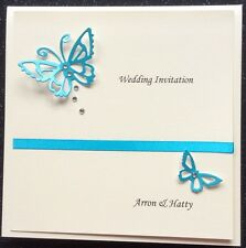 Wedding Invitation Sample Personalised White Pearl Card Butterfly & crystals