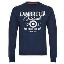 LAMBRETTA CLOTHING CREW NECK SWEATSHIRT NAVY BLUE, NEW! MOD-SKINHEAD-SCOOTER BOY