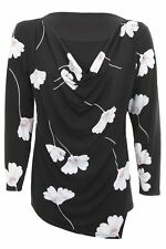 Womens Floral Print Long Sleeve Lined Asymmetric Blouse Cowl Neck Flower Top