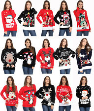 New Womens Ladies Penguin Rudolph Reindeer 3D Christmas Knitted Xmas Jumper Top