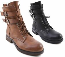 NEW WOMENS LACE UP BUCKLE COMBAT BIKER MILITARY FLAT ZIP ANKLE BOOTS SHOES SIZE
