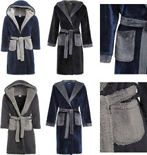 Boys Fleece Dressing Gown Hooded Luxury Snuggle Navy Blue Grey Winter 7-13  Years c8d8af2d2