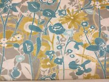Edinburgh Weavers Alice Floral Teal Cotton Fabric, Upholstery/Curtains/Cushions