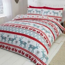 SCANDI Noël 100% coton brossé Housse de couette ensembles - Simple,double & King