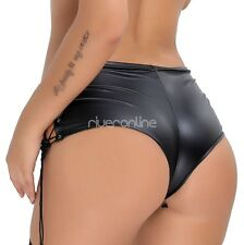 Women Patent Leather Lace Up Panty Hot Pants Shorts Clubwear Party Dance Costume