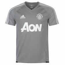 adidas Manchester United Training Jersey Mens Grey/Wht Football Soccer Shirt Top