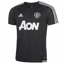 adidas Manchester United Training Jersey Mens Blk/Wht Football Soccer Shirt Top