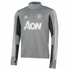 adidas Manchester United Training Sweatshirt Mens Grey/White Football Soccer Top