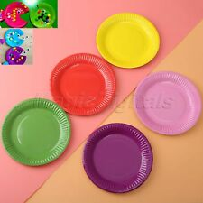 """7"""" Round Candy Color Paper Plate Birthday Wedding Xmas Halloween Party Tableware"""