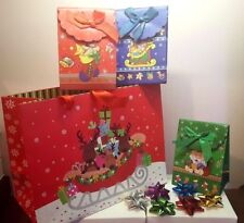 buste regalo coccarde Natale renne babbo natale shoppers natalizie christmas bag