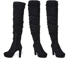 WOMENS OVER THE KNEE THIGH HIGH BLOCK HEEL LADIES FAUX SUEDE BOOTS SIZE 3-8