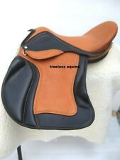 Premium Quality Tan/Black cow softy Leather Treeless GP Saddle in 5 sizes+acce