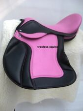 Premium Quality Pink/Black cow softy Leather Treeless GP Saddle in 5 sizes+acce