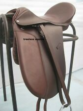 Quality Leather Dressage Treeless Saddle Brown Size with Accessories in 9 sizes