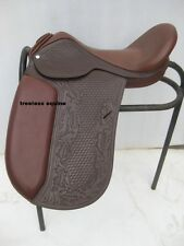 Quality Dressage Treeless Saddle Brown carving & tooling in 9 size+ accessories