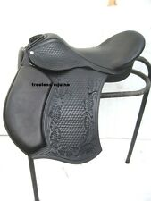 Quality GP/ All Purpose Leather Treeless Black hand carved/tooled Saddle 9 sizes
