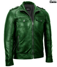 Classic Diamond Waxed Brown Vintage High Quality Men's Biker Real Leather Jacket