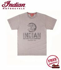 GENUINE INDIAN MOTORCYCLE BRAND COTTON T-SHIRT TEE IMC CIRCLE ICON GRAY SCOUT