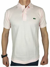 Lacoste Mens S/S Logo Branded Polo Shirt in Flamingo Pink