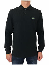Lacoste L1264 Mens Long Sleeve Polo Shirt in Charcoal Marl