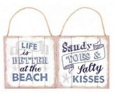 Life is better at the beach. Sandy Toes & Salty Kisses - Nautical Hanging Plaque