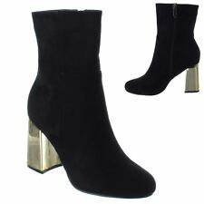 LADIES WOMENS GOLD CHUNKY BLOCK MID HIGH HEEL ZIP CHELSEA ANKLE BOOTS SHOES SIZE