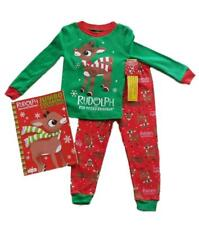 Kids Rudolph Christmas Pajamas Coloring Book Gift Set Toddler Sleepwear Sz 2T 3T