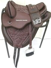 Quality cow softy leather all purpose treeless saddle brown with white stith+acc
