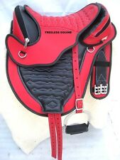quality All purpose synthetic treeless saddle Red/black+Girth+stirrups 5 sizes