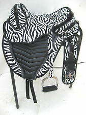 New All purpose synthetic treeless saddle zebra print + accessories in  5 sizes
