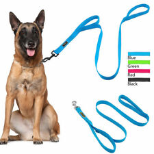 Reflective Dog Leads Hook Nylon Mesh Pet Leash with 2 Dual Traffic Padded Handle
