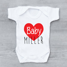 Personalised Baby's Name Red Love Heart Unisex Baby Grow Bodysuit