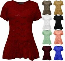Womens Floral Peplum Sleeve Plus Flared Frill Pattern Size Top Lace Short Tunic