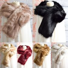 New Ladies Winter Faux Fur Scarf Neck Warmer Wrap Large Collar Shawl Warm Stole
