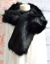 New Ladies Winter Black Faux Fur Scarf Neck Warmer Wrap Large Collar Shawl Stole
