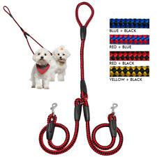 Nylon 2 Way Dog Double Lead No Tangle Pet Coupler Leash for Twin 2 Dogs Walking