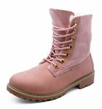 LADIES PINK LACE-UP DESERT WARM FLEECE LINED COMFY ANKLE BOOTS SHOES SIZES 3-8