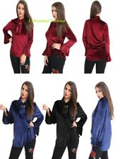 New Women's Ladies Casual Velvet Loose Blouse OL tie neck  Top